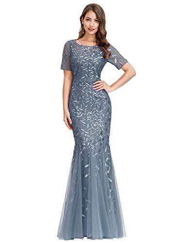 Ever-Pretty Damen Abendkleid Meerjungfrau Pailletten Tüll Partykleid Kurze Ärmel lang Staubige Marine 48
