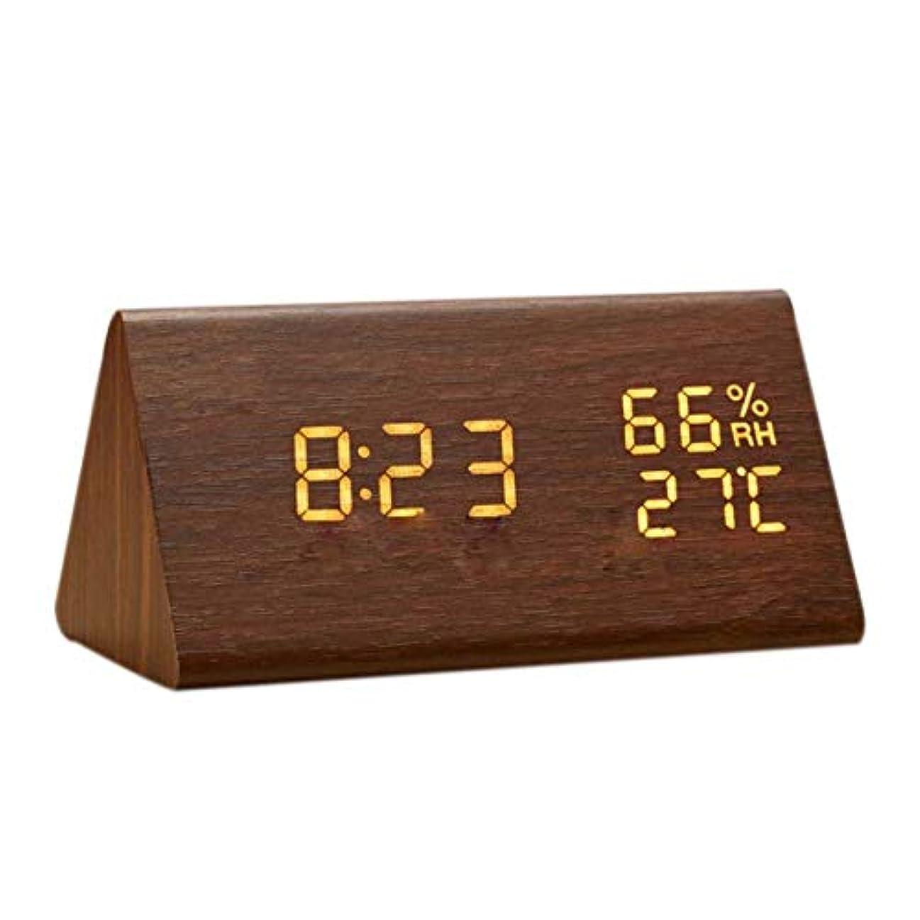 不良品警告する膜目覚まし時計 置き時計 デジタル 大きなLED数字表示 温度湿度計 カレンダー アラーム 振動/音感センサー 輝度調節 設定記憶 USB給電/電池 木製 おしゃれ 卓上 新築祝い 贈り物 (ブラウン)