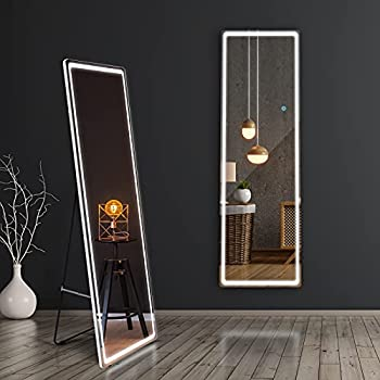 Gome LED Full Length Lighted Mirror 63 x20  Large Body Mirror with Lights Free Standing Floor Mirror Rectangle Wall Mounted Hanging Mirror Full-Size Dressing Mirror for Bedroom Dimming  White