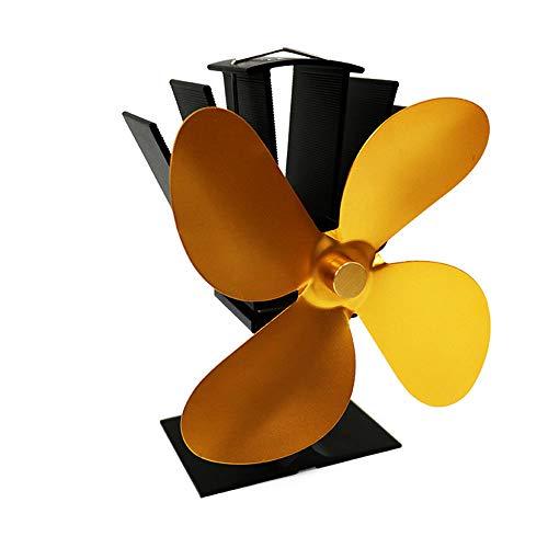Yinglingqi-1 kachel stille ventilator, open haard met 4 schoppen, voor desktop-heteluchtkachel voor hout, log brander, open haard rookkanaal goud