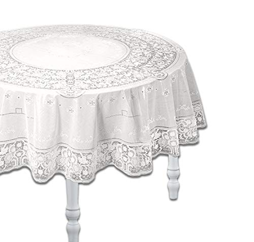 Knight 100% Embossed Vinyl Lace Table Cloth, Waterproof, Wipe Clean, Assorted Sizes & Shapes, Rectangle/Square/Round/Oval - White (Round 135 cm)