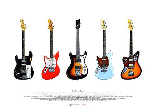 George Morgan Illustration Kurt Cobain Gitarren KUNSTPOSTER A2 Größe