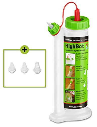 Pinava® Leimflasche - Original HighBot (ca. 180ml) - Kein Drehen, kein Schütteln & kein Warten - Leimspender für Holzleim Inkl. 4 Spitzen - Sauberes Auftragen & Dosieren - FastCap Pinava Edition