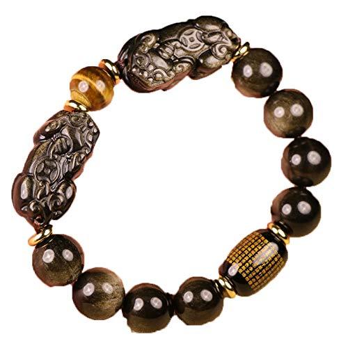 ZHIBO Pulsera de oro negro natural de obsidiana doble PiXiu, oración budista, tropas valientes, pulsera de cuentas de piedra para hombres y mujeres