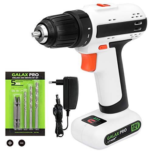 GALAX PRO Drill Driver,GALAX PRO 12V 2-speed Cordless Drill, Maximum Torque 25 N.M, 3/8 Inch Keyless Chuck, Streamlined Design, with 6 Accessories (GP95612)