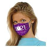 Ouneed1 Herren Damen Mundschutz mit Filter Mouth Maske Reuseble Gesichtsmaske Washable Masken, Mundmasken mit 2021 Happy New Year Drucken Bandana Schlauchschal Halstuch (B)