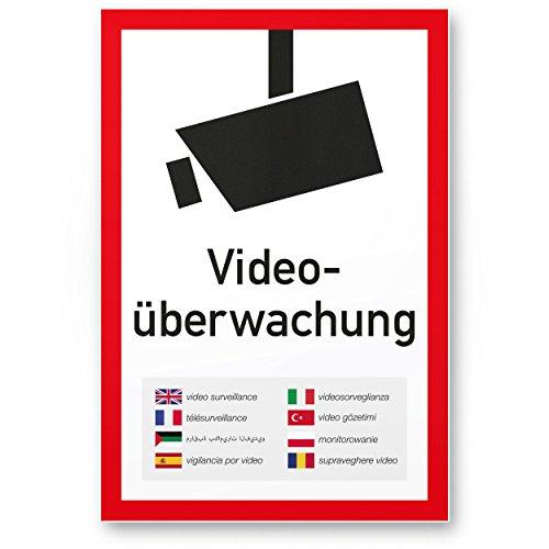 Videoüberwachung Kunststoff Schild mehrsprachig (20 x 30 cm) - Achtung/Vorsicht Videoüberwachung - Hinweis/Hinweisschild Videoüberwacht - Warnschild/Warnhinweis Videoüberwachung