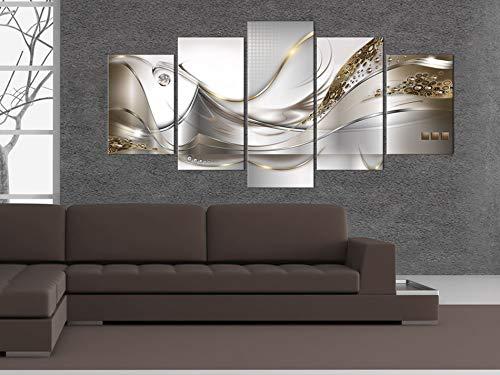 Bilder 200×100 cm – 3 Farben zur Auswahl ! XXL Format! Fertig Aufgespannt TOP Vlies Leinwand – 5 Teilig – Abstrakt Blumen Wand Bild Bilder Kunstdrucke Wandbild a-A-0004-b-o 200×100 cm B&D XXL - 2