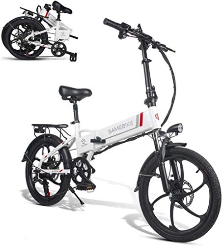 Bicicleta EléCtrica ,Smart Ebike - De 48 V Y 20 Pulgadas, con Motor 350 W Black,Color:Black (Color : White)