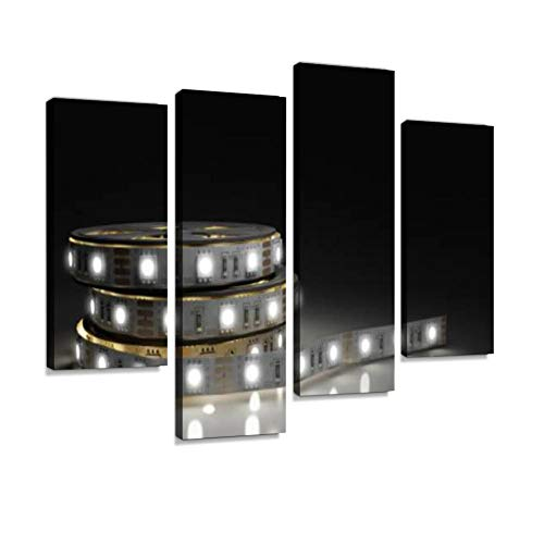 IGOONE 4 Panels Canvas Paintings - Diode Strip Led Lights Tape Close up 3D Render on White - Wall Art Modern Posters Framed Ready to Hang for Home Wall Decor