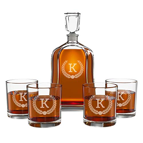 Personalized Whiskey Decanter Set for Men - 9 Design Options -...