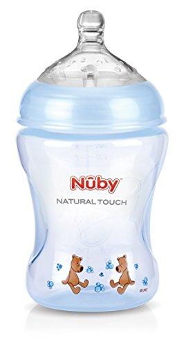 Nuby NT68007 - Natural Touch Weithalsflasche aus PP, 240 ml (Blue Design mit Soft-Flex Flaschensauger aus Silikon ab 0 Monaten / Gr. S für langsamen Trinkfluss / Muttermilch, Milch, Tee, Säfte)