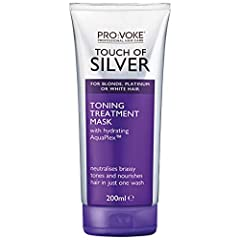 Toning treatment mask from PRO:VOKE Touch of Silver Contains salon-strength violet pigment to actively neutralise brassy tones for brighter hair in just one wash! Contains AquaPlex technology to nourish damaged, over- processed hair Leaves hair feeli...