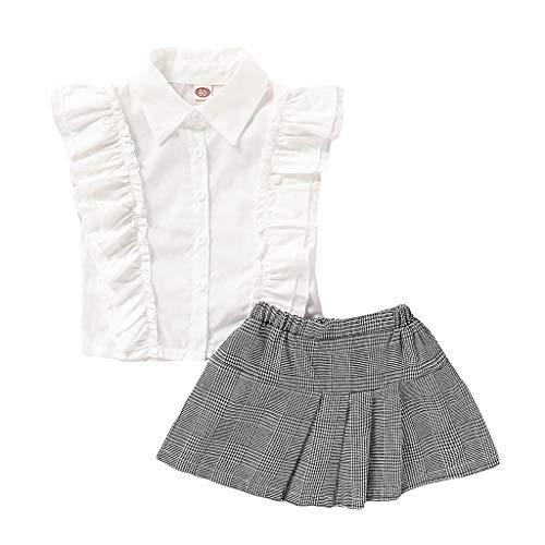 0-4 Años,SO-buts Pequeños Bebé Niña Sin Mangas Color Sólido Volantes Camisetas Tops Camiseta Falda a Cuadros Trajes Conjunto Casual Vestidos De Fiesta De Verano (Blanco,6-12 Meses)