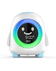 Amouhom Barn väckarklocka barns sömntränare med LED nattlampa nattduksbord tecknad digital klocka med färger som ändras och temperaturkalender bästa presenten till barn sovrum vardagsrum