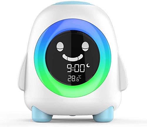 Amouhom Kinderwecker, Wake Up Licht mit LED Nachtlicht Cartoon Digitaluhr mit 7 Farben Ändern & Temperaturkalender Geschenk für Kinder Schlafzimmer Wohnzimmer