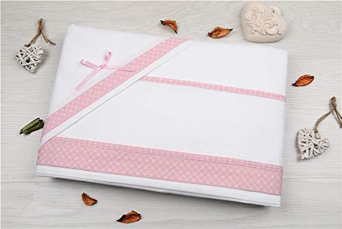 set lenzuolino 3 pz culla lettino da ricamare tela aida fascia di piquet stampata (Rosa)