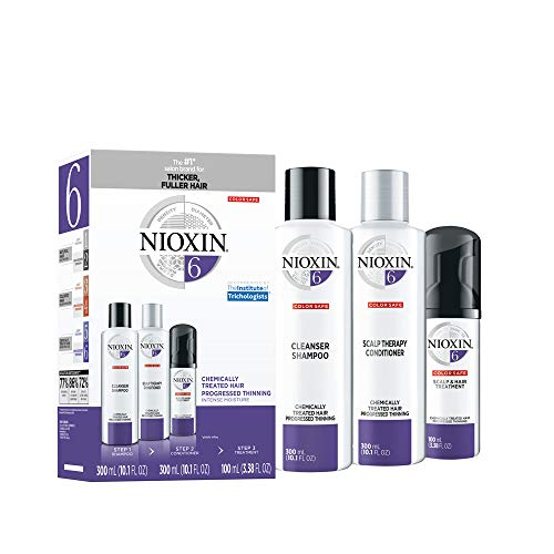 Nioxin System 6 Hair Care for Bleached Hair/CheMically Treated Hair with Progressed Thinning, 3 Count