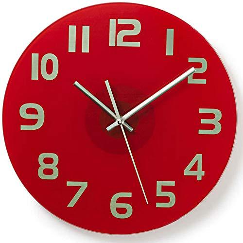 TronicXL Wanduhr modern für Küche Büro Wohnzimmer Uhr minimalistisch rot Glas