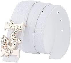 ALAKA Letter H Dragon Buckle Alligator Pattern Leather Mens Belt (White), Length 110cm Width 3.8cm (L43.3'' W1.5'')