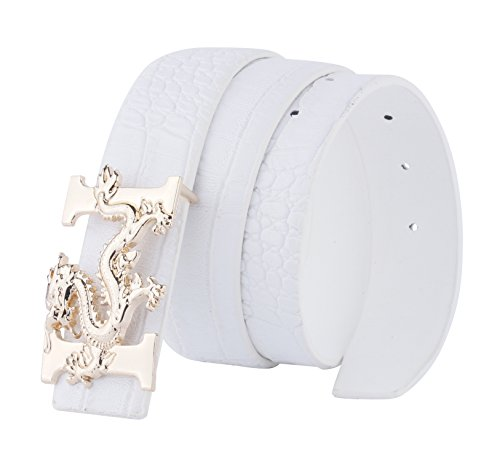 ALAKA Letter H Dragon Buckle Alligator Pattern Leather Mens Belt (White), Length 110cm Width 3.8cm (L43.3'' W1.5'')