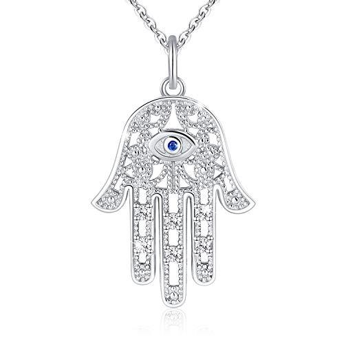 Collar de plata de ley 925 con colgante de mano de Fátima, para niñas, regalo para el día de la madre