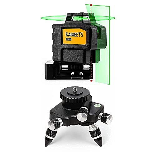 KAIWEETS Rotary Laser Level KT360B with Adapter Tripod, Self-Leveling Green Laser Line 360° Horizontal and Vertical Line