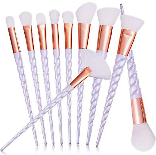 2020 Nouveau Professionnel 10 PCS Blanc Poignée Maquillage Brosses Ensemble Fondation Mélange Blush Visage Ombrage Cosmétique Brosse Maquillage Kit 5 Couleurs-white_set