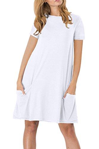 YMING YMING Damen Kurzarm mit Taschen Kleid Lose T-Shirt Kleid Rundhals Casual Tunika Mini Kleid Weiß M/DE 38-40