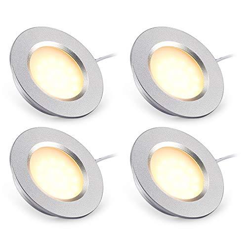 Kohree LED-Einbauleuchte, Deckenleuchte, LED, Wohnmobil, 12 V, 3 W, 3000 K, für Boot, Auto, Ferienhütte, 4 Stück