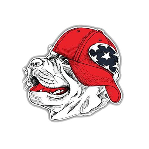 YLZH Etiqueta engomada del coche de color 13.2 X 12.5cm Staffordshire Bull Terrier Dog Head Cap Decoration Bumper Window Pegatina C1-4257 Logo sticker