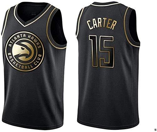 Black Gold Edition NBA Jersey Atlanta Hawks 15# Vince Carter Classic sin Mangas sin Mangas Chaleco de Baloncesto Camiseta Transpirable Moda de los Hombres (Size : Medium)