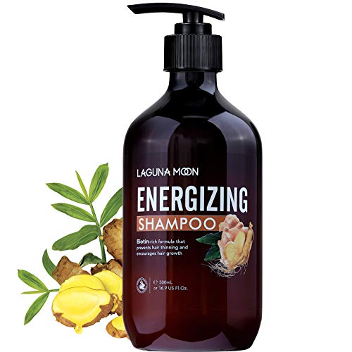 Lagunamoon Energizing Shampoo for Thinning Hair and Hair Loss, Hair Growth Shampoo with Biotin, Ginger, Shrubby Sophora, He Shou Wu for Women and Men, No Sulfate, Parabens and Silicones, 16.9oz