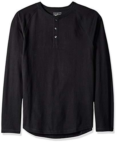 Amazon Essentials - Camiseta ajustada Henley de manga larga para hombre, Negro (Black), XX-Large (EU XXXL - 4XL)