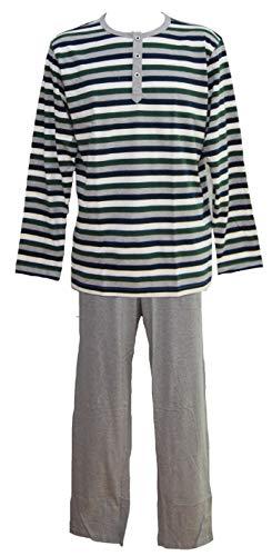 Jockey Herren Pyjama Schlafanzug lang gestreift grau-grün Gr. M