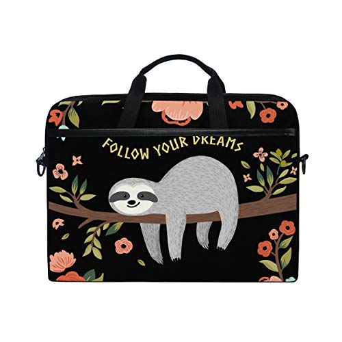 DOSHINE Laptop Bag Case Sleeve Quote Animal Sloth Flower Tree Notebook Computer Bag for 14-14.5 inch Adjustable Shoulder Strap, Back to School Gifts for Men Women Boy Girls