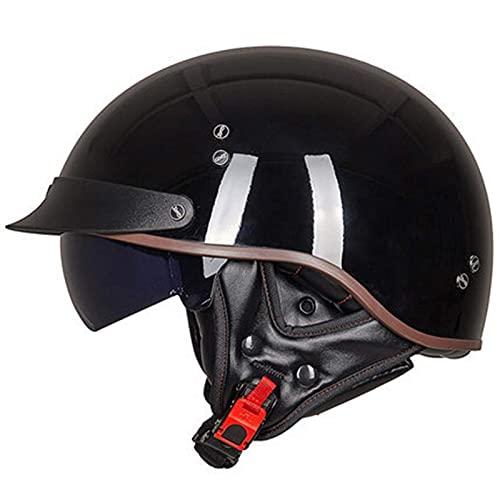 LXTIN Cascos Warrior, Medio Casco de Motocicleta con Parasol para Hombres y Mujeres, Esfera de tamaño Ajustable ECE, Gorra de Calavera de Media Cara para Bicicleta, Crucero, helicóptero,