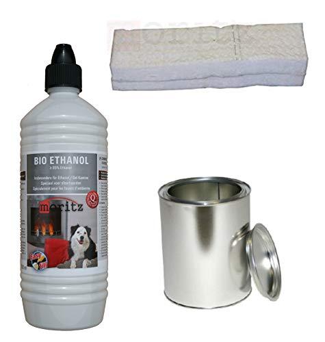 Moritz Starter Set 1 x 1000 ml Bio Ethanol + 1x Blechdose 250 ml mit Deckel + 1x Watte/Keramikwolle für Brenner Kamin Ofen Sicherheitsbrenner Brennpaste
