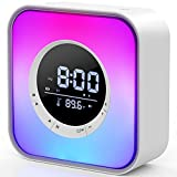 Night Light Bluetooth Speaker, Digital Alarm Clock, Bedside Table Lamp with 10 Colors Night Light Dimmable, Temperature Display