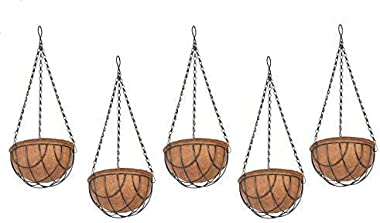 COIR GARDEN Flower POTS Hanging Round Basket (10 Inch) -5 Pieces