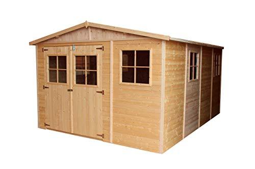 TIMBELA Holz Gartenschuppen MIT IMPRÄGNIERTEM Boden - Abstellkammer mit Fenstern - H226x418x320 cm/12 m² Naturholz-Shiplap-Schuppen - Gartenwerkstatt - Fahrrad- Geräteschuppen M336+336G