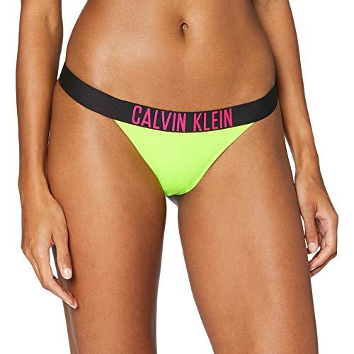 Calvin Klein Brazilian-n Parte de Arriba de Bikini, Amarillo (Safety Yellow ZAA), M para Mujer