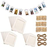 Fashion HW - Set di 30 cornici di Carta per Foto Fai da Te, 10 x 15 cm, con Clip in Legno e Filo da Appendere, in Cartone, per Decorare la casa White 30pcs