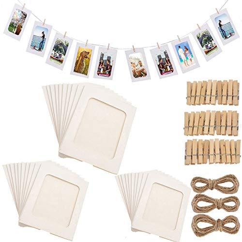Fashion HW - 30 Marcos de Fotos de Papel con Clips de Madera y Marco de Fotos de cartón para Colgar en la Pared, para decoración del hogar