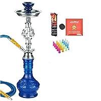 シーシャセットコンプリートセット1ホース、喫煙水ギセル持ち運びに便利な水ギセルガラス花瓶ホテル用KTVガラス素材コンプリートセット,ブルー