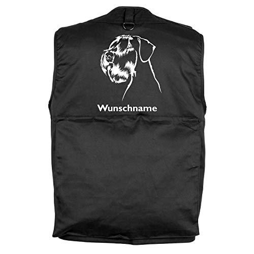 Tierisch-tolle Geschenke Riesenschnauzer - Hundesportweste Hundeführerweste mit Rückentasche und Namen XL
