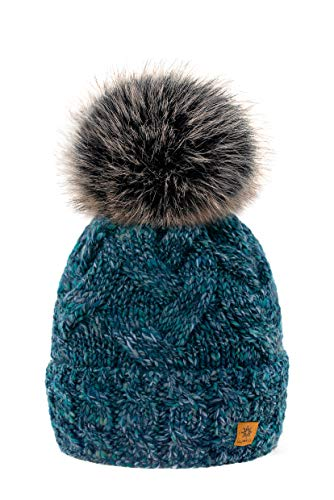MFAZ Morefaz Ltd Winter Damen Strickmütze Beanie Wurm Alpaka Wolle Fleece Bommel Pom...