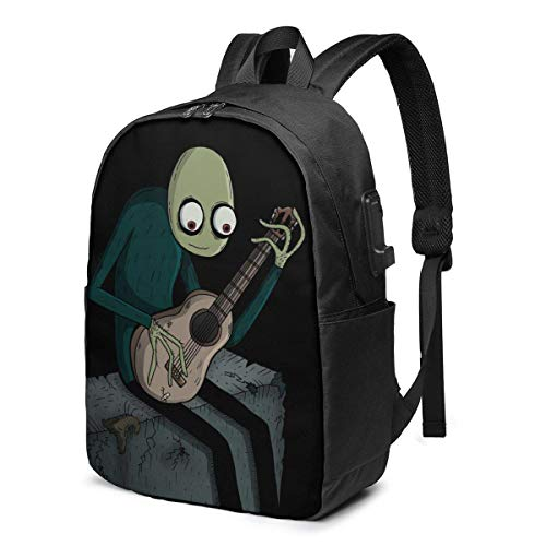 XCNGG Salad Fingers Men's and Women's Waterproof Laptop Backpack, Travel/School Backpack with USB Charging Port and Headphone Jack, Suitable for 15.6 to 17 Inch Laptops