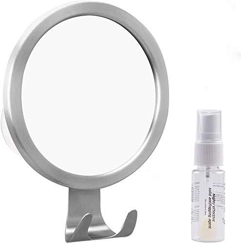 Espejo Antivaho Baño,GlobaLink Espejo Ducha Afeitado Espejo Redondo para Afeitar Maquillaje Cuidar Piel,con 3 Ventosa Grandes de Fijación,Regalo para Navidad,Cumpleaños Acero Inoxidable Color Plateado