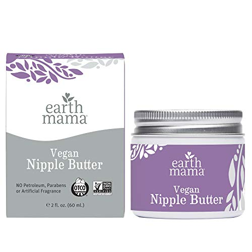 Vegan Nipple Butter Breastfeeding Cream by Earth Mama | Lanolin-free 2-Ounce
